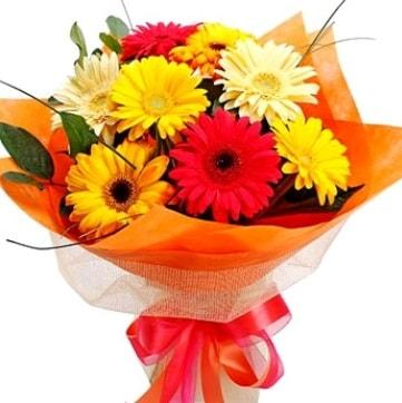 9 adet karışık gerbera buketi  Batman çiçek , çiçekçi , çiçekçilik