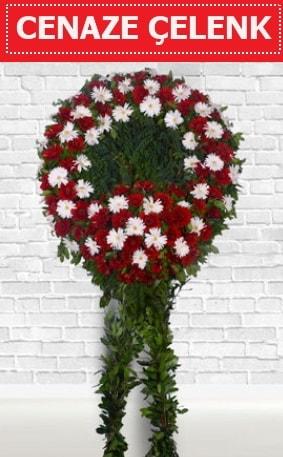 Kırmızı Beyaz Çelenk Cenaze çiçeği  Batman İnternetten çiçek siparişi