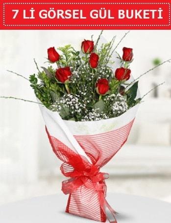 7 adet kırmızı gül buketi Aşk budur  Batman çiçek satışı