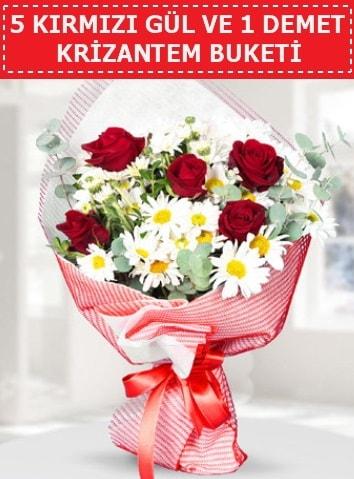 5 adet kırmızı gül ve krizantem buketi  Batman çiçek satışı