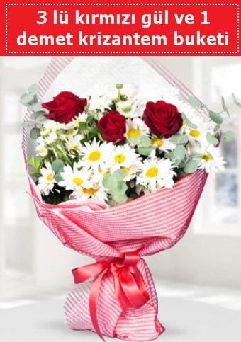 3 adet kırmızı gül ve krizantem buketi  Batman çiçek gönderme sitemiz güvenlidir