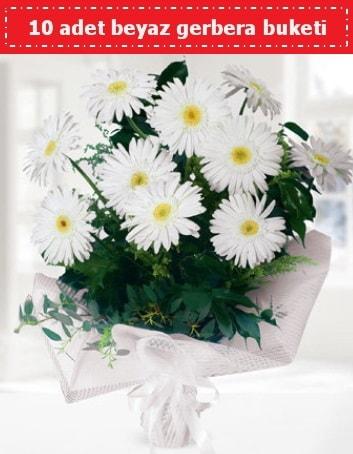10 Adet beyaz gerbera buketi  Batman çiçek , çiçekçi , çiçekçilik