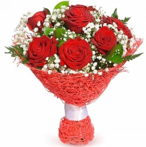 7 adet kırmızı gül buketi  Batman çiçekçiler