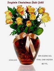 Batman internetten çiçek satışı  mika yada Cam vazoda 12 adet sari gül
